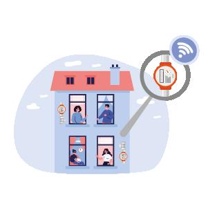 Illustration eines Mehrfamilienhauses mit Funkzählern